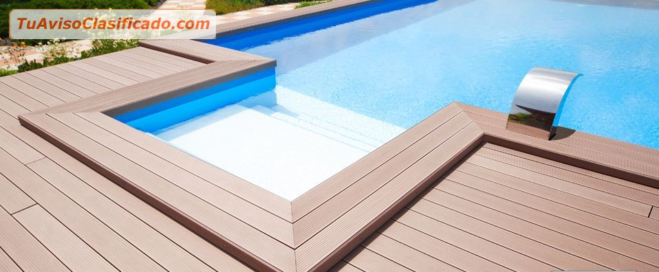 Madera sintetica para piscina jacuzzi terrazas areas de for Piscinas con jacuzzi precio